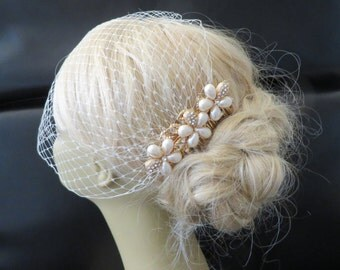Golden Comb and Birdcage Veil Floral Hair Comb Wedding Hair Comb, Bridal Hair Comb Gold Comb Gold Plated a headpieces rhinestone brida