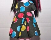Handmade Monster High doll clothes - black with red, blue and yellow dots  dress