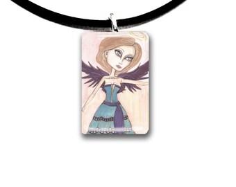 big eyes, Angel pendant, Halo, hand painted watercolor, art print, purple and aqua, peach colors