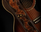 Leather Guitar Strap, Custom Leather Guitar Strap:  Roverdawn Guitar Strap