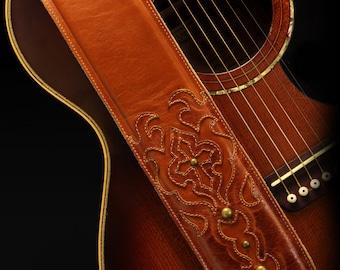 Leather Guitar Strap, Brown Guitar Strap:  Cognac Cross Guitar Strap
