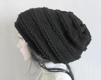 Knitted Dreadlock Hat,Chanky Beanie, Large Beanie ,Oversized Beanie, Hat Large ,Slouchy Dreadlock hat ,Women Knit Hat Hand Knit Hat re