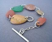 Summer Sale  Beach Stone Bracelet, Beach Pebble Bracelet