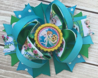 NEW ITEM Boutique Baby Girls Layered Disney Movie Frozen Elsa and Anna Hair Bow..Perfect for Disney Photo Props Birthday St