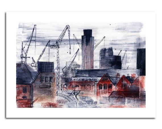 London Cityscape - Architecture Print - Skyline Art - Construction Decor - City Landscape - A4 Painting