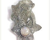 ON SALE Rainbow moonstone pendant, Silver moonstone necklace, Forest fairy moonstone pendant
