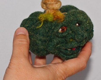 Needle felted Pumpkin Pet for BJD or decor