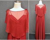 1970s Burgundy Maxi Dress and Chiffon Capelet