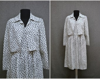 1960s White and Black Print Dress and Jacket