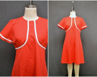 1970s Red A-Line Dress with Trim
