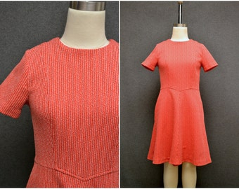 1960s Red Fleck A-Line Dress