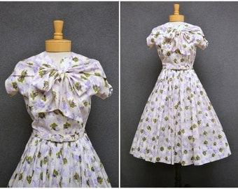 1950s Herbert Schneider Floral Cotton Dress
