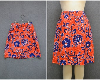 1960s Red, White, and Blue Print Skirt