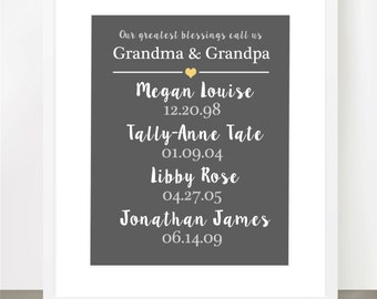 GRANDPARENT PRINT, Grandchildren birthday, our greatest blessings, personalized, Family Story Dates - 8x10, 11x14, 16x20, Customizable Print