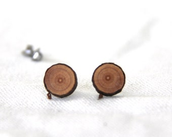 cherry wood - little stud earrings - ONE pair