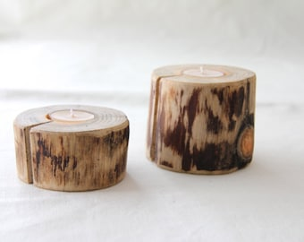pine - 2 candle holders with beeswax candles