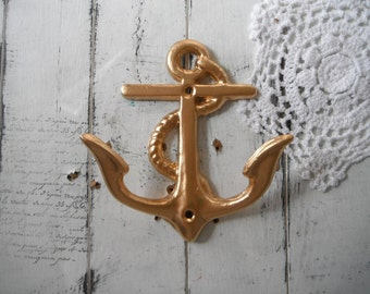 gold anchor hook rustic coat hook nautical decor clothing hook bathroom towel hook beach house hook wall decor cottage decor dents  dings
