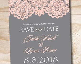 Vintage Lace Save the Date - Printable digital file or printed invitations