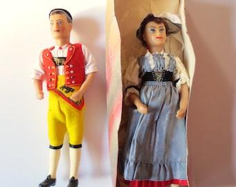 Sasha Morgenthaler Glunk Costume dolls, Appenzell Senn doll, K Glunk Swiss dolls, wax doll pair, male and female dolls, Jackpot Jen vintage