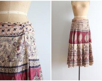 vintage 70s cotton gauze wrap skirt - metallic lurex threads / 70s boho skirt - paisley & birds block print skirt / hippie festival skirt
