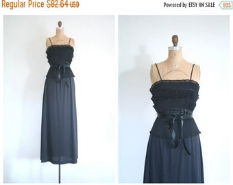 SALE / 1970s black maxi ladies party dress - organdy tiered ruffles / 70s glamour - Studio 54 - LBD / vintage bridesmaid - 70s maxi prom dre
