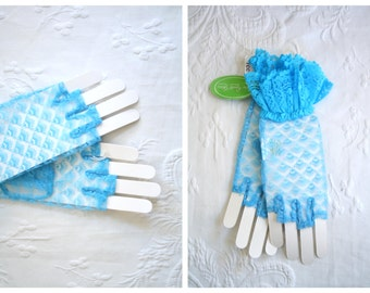 blue lace fingerless gloves - 1980s punk / Van Raalte - new old stock / vintage 80s - Halloween Costume- kawaii