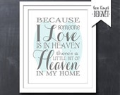 "Because Someone I Love is in Heaven There's a Little Bit of Heaven in My Home 8x10""  - CUSTOM COLOR"