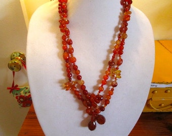 """Amazing 58"""" Long Genuine CARNELIAN Faceted & Carved Stones, SWAROVSKI Crystal Drops, Triangles, Rondels Exceptional LARIAT/Belt/Necklace"""