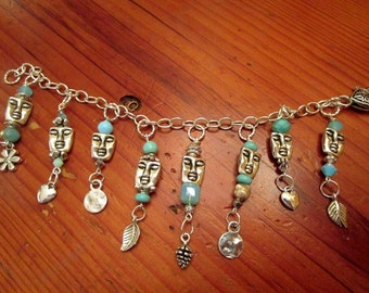 """Grand STERLING Silver, Silver Plate & Fine Pewter 7 1/2"""" Link, 8 Dangling Charms: 2-sided FACES w/TURQUOISE and Swarovski Crystal Bracelet"""