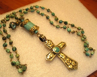 Fine Tibetan Repousse Brass & Genuine Turquoise CROSS on AFRICAN TURQUOISE Rosary Chain Necklace w/Large Turquoise Repousse Bead and Charm