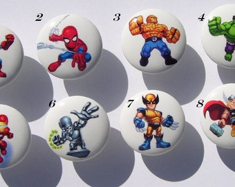 8  SUPERHERO SQUAD on white knobs  kids boys Dresser Drawer Knob