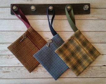Wool wristlet,Phone case,Plaid bag,Plaid wool bag