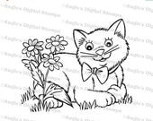 50% OFF Kitty In Flowers Digital Stamp Image