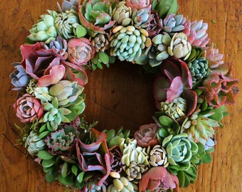 "Succulent Angelique wreath  Patio Garden Wreath  14"" rich stunning jewel tone wreath  succulent rosette wreath  tapestry of color wreath"