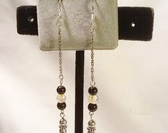 Black Onyx and Citrine Sterling Silver Gemstone Chain Earrings