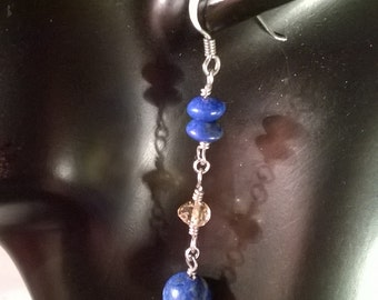 Lapis Lazuli and Citrine Sterling Silver Gemstone Earrings