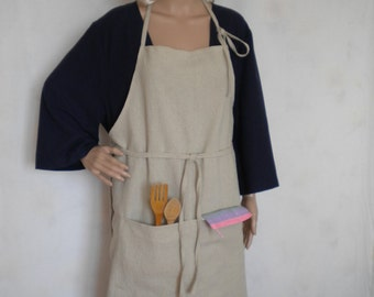 washed linen apron full apron natural linen long apron traditional pinafore linen apron