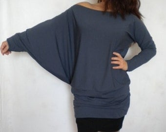 off shoulder top oversize sweater asymmetric plus size tunic top loose shirt batwing sleeve casual top blouse made to order