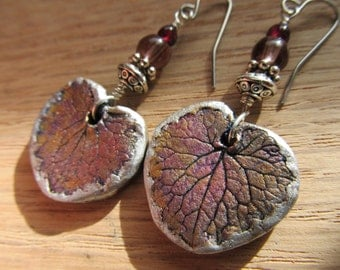 Earrings Geranium Leaf with garnet pewter and glass bead on sterling silver wire with steel ear wires