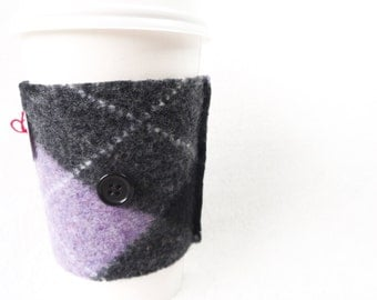 Coffee Cozy PURPLE ARGYLE Coffee Cosy / Coffee Sleeve Felted Sweater Wool by WormeWoole