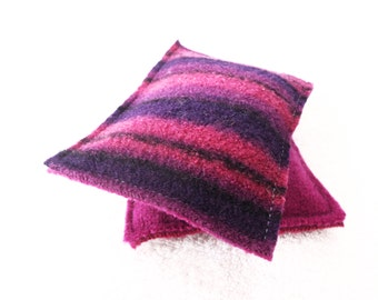 Hand Warmers PINK & BLACK Felted Sweater Wool Rice Bags Reusable Handwarmers Pocket Hand Warmers Ecofriendly Gift by WormeWoole