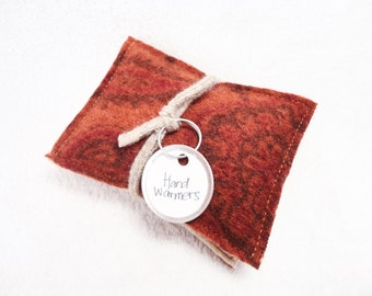 Pocket Hand Warmers Wool RUST ORANGE and Beige Eco Friendly Gift Portable Heat Reusable Handwarmers by WormeWoole