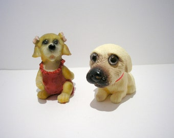 Lot of 2 mixed material dog figurines