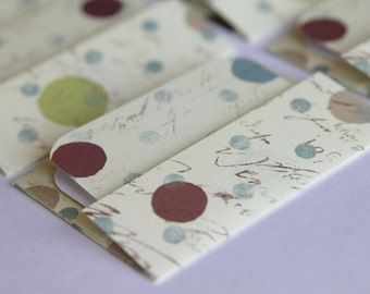 NEW -Mini Cards n Envelopes - Set of 6 - Maroon Red, Lime Green, and Blue Polka Dots with Cream Script Background
