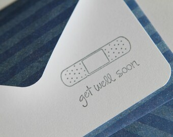 Set of 3 Stationery - Navy Blue Stripes with Grey Bandaid - Get Well Soon