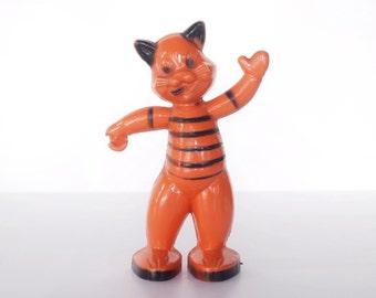 Vintage E. Rosen or Rosbro waving cat, 1950s hard plastic styrene Halloween candy container, orange, black striped shirt, decoration