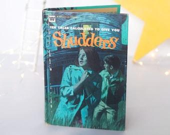 "Book, ""Shudders"" horror short stories, ghost, suspense, Ross R. Olney, vintage 1972 Whitman Classic, H.G. Wells, Halloween decoration, aqua"