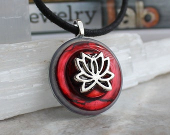 red lotus flower necklace, flower necklace, flower jewelry, yoga jewelry, lotus jewelry, meditation jewelry, unique gift, nature necklace