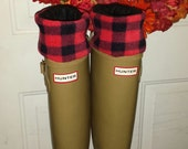 Small Lumberjack Red Check print, Fleece Rain Boot Liners, with Black sock, all season Boots, Boot Accessories, Boot Cuff