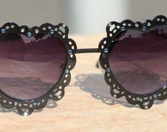 Hippie Sunglasses, Heart Shaped Sunglasses, Black Heart Sunglasses with Swarovski Crystals